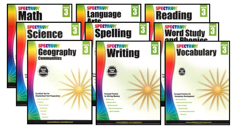 SPECTRUM Curriculum Package for Grade 3 - Set of 9 Workbooks - Click Image to Close