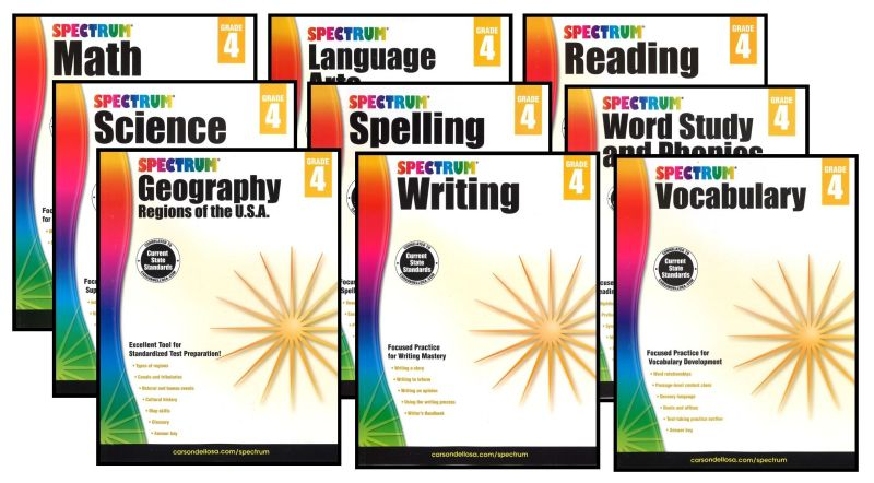 SPECTRUM Curriculum Package for Grade 4 - Set of 9 Workbooks