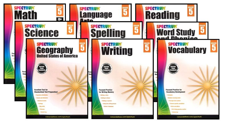 SPECTRUM Curriculum Package for Grade 5 - Set of 9 Workbooks