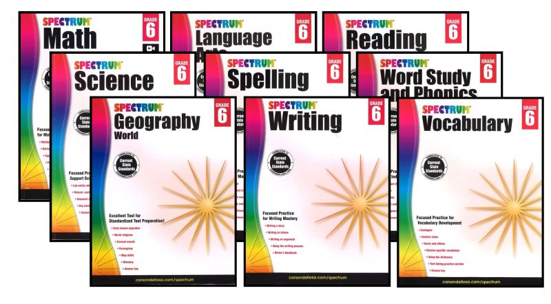 SPECTRUM Curriculum Package for Grade 6 - Set of 9 Workbooks