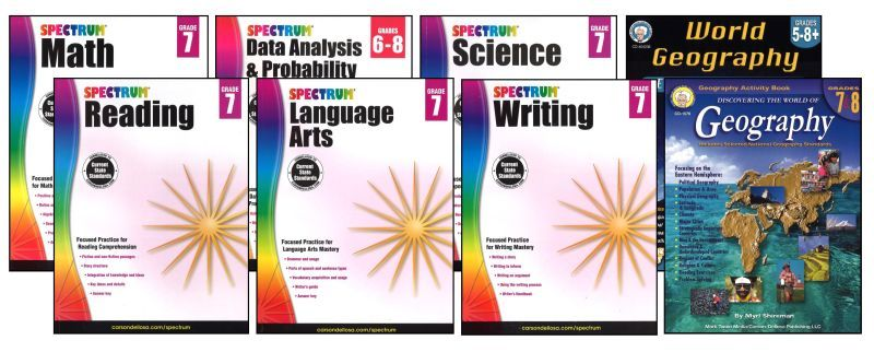 SPECTRUM Curriculum Package for Grade 7 - Set of 8 Workbooks